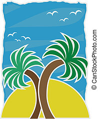 Vector Illustration Twin Palms acce - Large yellow sun...