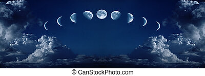 nueve, fases, Lleno, Crecimiento, ciclo, luna
