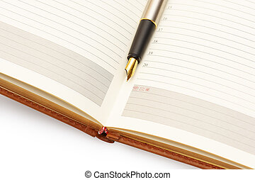 Gold pen on diary - Opened lined diary with a gold pen...