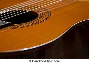 clásico, guitarra, lado, vista