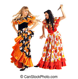 Two agressive woman in gypsy costume