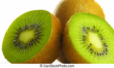 kiwi on white background, rotate