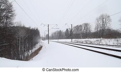 cargo train in winter