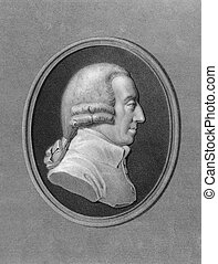 Adam Smith 1723-1790 on engraving from the 1800s Scottish...