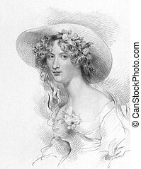 Anna Maria Porter (1780-1832) on engraving from the 1800s....