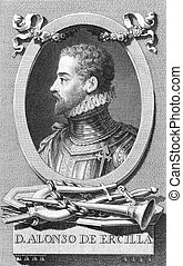 Alonso de Ercilla (1533-1594) on engraving from the 1800s....
