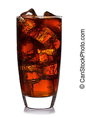 Glass of cola isolated - Photo of fizzy Cola in a glass with...