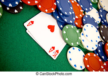Gambling chips and cards - Casino gambling chips and playing...