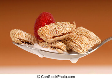 Whole wheat shredded cereal with raspberry - Delicious...