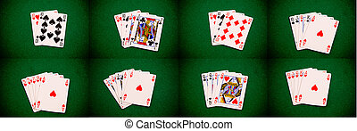 Poker figures set - Set of basic poker figures on green...