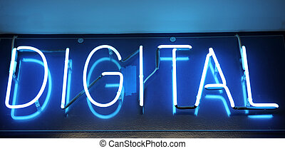 Neon Digital Sign - Blue neon sign with the word Digital