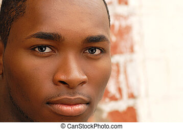 Portrait of an African American Male - Closeup of the face...