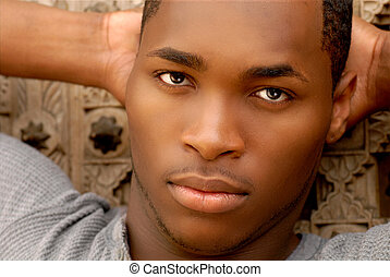 Attractive African American Man - Face shot of an attractive...