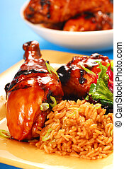 Honey and balsamic glazed asian chicken with rice and salad...
