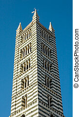 Tower in medieval tuscan town of Siena