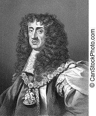 Charles II (1630-1685) on engraving from the 1800s. King of...