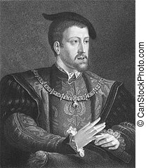 Charles V (1500-1558) on engraving from the 1800s. Ruler of...