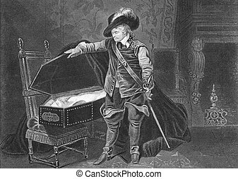 Cromwell viewing the dead body of Charles I on engraving...