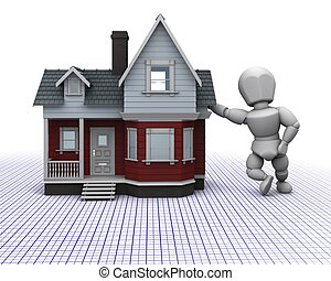 man with traditional timber house - 3D render of a man...
