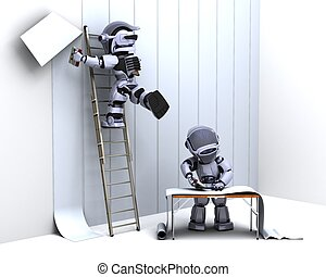 robot decorating with wallpaper - 3D render of robot...