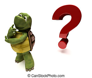 Tortoise Caricature thinking by a question mark - 3D render...