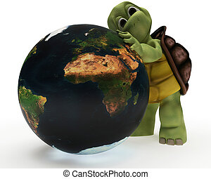 Tortoise Caricature hugging the earth - 3D Render of a...
