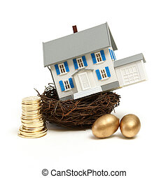 House In a Nest - A model house rests in a nest with gold...
