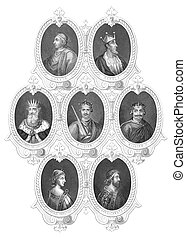 English Kings portraits on engraving from the 1800s....