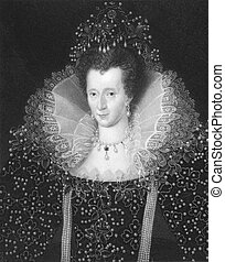 Elizabeth I (1533-1603) on engraving from the 1800s. Queen...