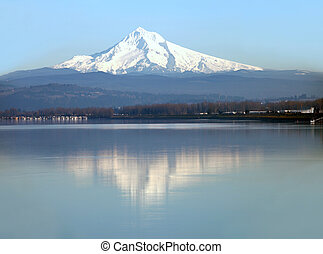 Mt Hood Oregon - A view of mt Hood being reflected on the...