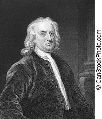 Isaac Newton (1643-1727) on engraving from the 1800s. One of...