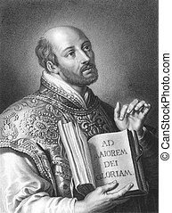Ignatius of Loyola 1491-1556 on engraving from the 1800s...