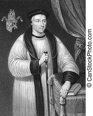 Hugh Oldham (1452-1519) on engraving from the 1800s. Bishop...