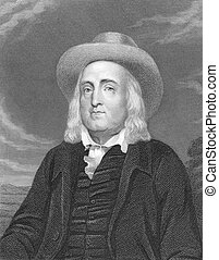 Jeremy Bentham (1748-1832) on engraving from the 1800s....