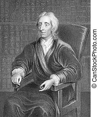 John Locke 1632-1704 on engraving from the 1800s English...