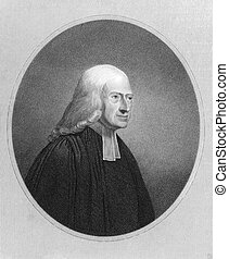 John Wesley 1703-1791 on engraving from the 1800s Anglican...