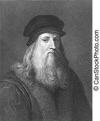 Leonardo Da Vinci (1452-1519) on engraving from the 1800s....