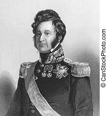 Louis Philippe (1773-1850) on engraving from the 1800s. King...