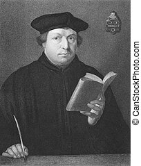 Martin Luther 1483-1546 on engraving from the 1800s Priest...