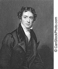 Michael Faraday (1791-1867) on engraving from the 1800s....