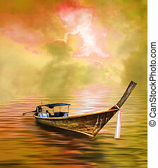 Long tailed boat in golden Asian paradise
