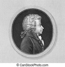 Mozart - Wolfgang Amadeus Mozart 1756-1791 on engraving from...