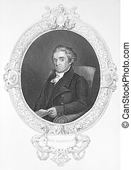 Noah Webster 1758-1843 on engraving from the 1800s American...