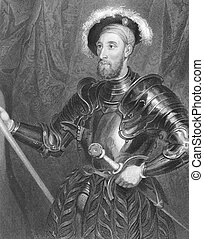 Nicholas Carew (1496-1593) with full jousting armour on...