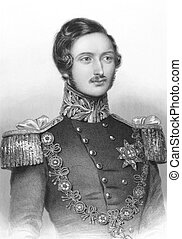 Prince Albert on engraving from the 1850s. Husband of Queen...