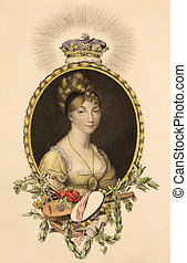 Princess Sophia (1777-1848) on engraving from the 1800s. 5th...