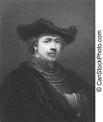 Rembrandt 1606-1669 on engraving from the 1800s Dutch...