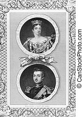 Queen Victoria and Prince Albert on engraving by J.Rogers...