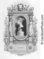 Queen Victoria 1819-1901 on engraving from the 1800s Queen...