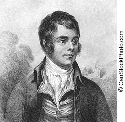Robert Burns 1759-1796 on engraving from the 1800s Scottish...
